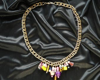 Gold plated necklace with multicolored beads