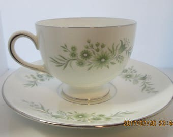 Wedgwood WESTBURY Leigh Footed Cup and Saucer  set of 2  R4410