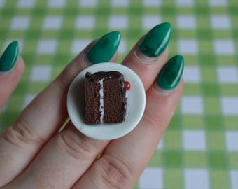 Polymer clay miniature realistic piece of chocolate cake ring