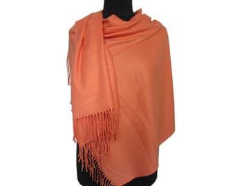 Soft Orange Pashmina, Beautiful Scarf, Fall Scarf, Christmas Gifts for Women, Long Pashmina, Gift for Girlfriend, Plain Pashmina