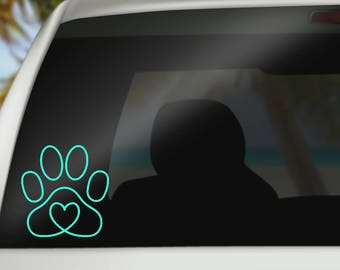 Dog Paw Decal - Dog Love Decal - Pet Car Decal - Dog Heart Decal - Laptop Decal - Yeti Decal - Dog Mom - Bumper Sticker - Dog Vinyl Decal -