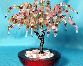 Beaded Wire Pink Wisteria Bonsai Tree Sculpture