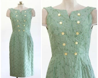 1960s seafoam green embroidered sheath dress
