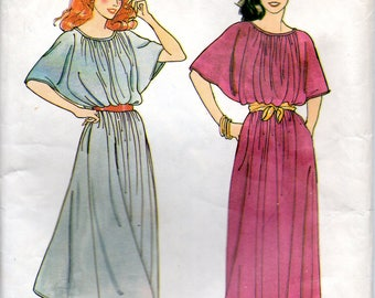 70s Butterick Sewing Pattern 6784 Loose Fitting Dress Different Lengths Dolman Sleeves Size Small