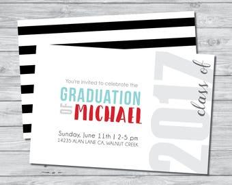 2017 Graduation Invitation, Graduation Party Invite, Digital Invitation