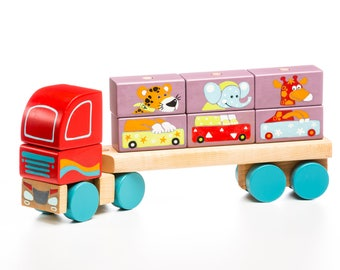 Wooden Truck, Busy Truck, Play Game, Wooden Toy, Natural Waldorf Toy, Toddler Activity, Organic Toddler Toys, Busy Baby Toy,Toddler Busy Toy