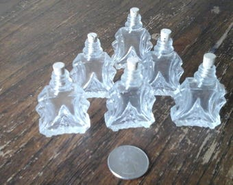 mini vintage glass bottles with cork stoppers (6))