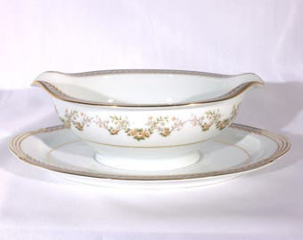 Noritake Shelburne 5316 Gravy Boat, Mid Century Dinnerware, Fine China, Laurel, Flower, Gold Gilt