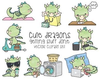 Premium Vector Clipart - Kawaii Dragon - Cute Dragons Planning Clipart - Instant Download - Kawaii Clipart
