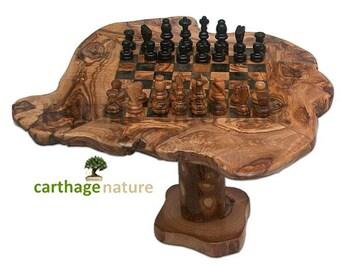 De gift van de verjaardag, lage tafelspel van schaken in olijf hout rustieke 25cm met standaard 15 cm, goedkope geschenk, Woonkamer decoreren