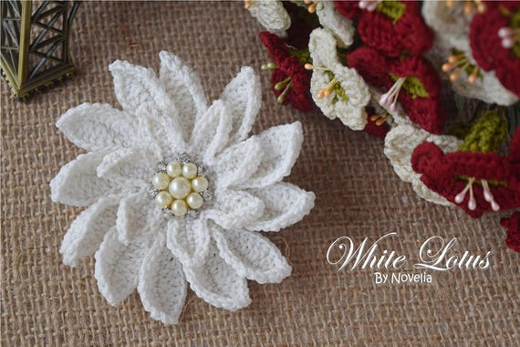 Pattern Crochet Flower White Lotus Wedding Accessories Hairpin