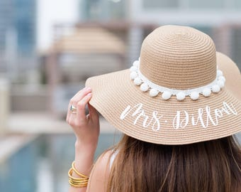 Custom Bride/Honeymoon Pom Pom Floppy Beach Hat // Bachelorette Trip // Honeymoon // Wedding