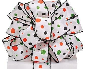 "New Halloween Dots Ribbon 1-1/2"", Wired Halloween Ribbon, Halloween Craft Supplies, Halloween Wreath Supplies"