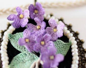 Crochet pendant, statement choker, boho pendant, elegant choker, flower pendant with tiny violets, micro crochet, gift for girlfriend