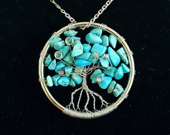 Turquoise Tree of Life Crystal Pendant