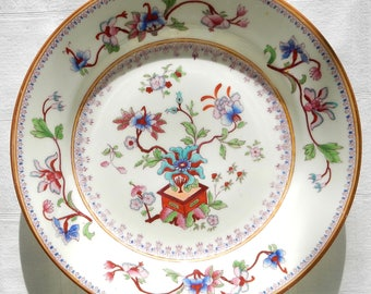 Set Antique Royal Worcester Porcelain Plates - Worcester Indian Tree Pattern 5969 Salad or Desert Plates - Five Antique Porcelain Plates
