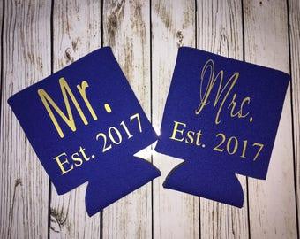 Mr & Mrs Can Holders / wedding favor / monogrammed can cooler / personalized / beverage huggie / can cooler / bride / groom