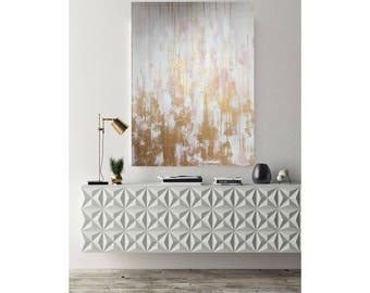 Large Acrylic Painting, Abstract Pink Gold Art, Living Room Wall Art, Large  Wall