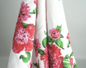 Picnic Patio Party Table Cloth Terry Cloth With Red Roses