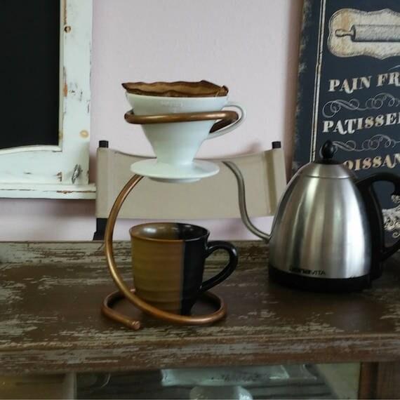 Pour Over Coffee Maker V60 : Ceramic Pour Over Drip Stand Hario V60 Dripper Copper Drip