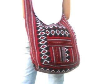 Woven Sling Bag Ethnic Boho Bag Hobo Bag Hippie Bag Cotton Crossbody Shoulder Bag Messenger Bag Diaper Bag Red Black Handbags  Everyday Bag