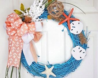 Coastal Wreath,Seashell Wreath,Beach Wreath,Grapevine Wreath,Starfish wreath, Teal Grapevine wreath