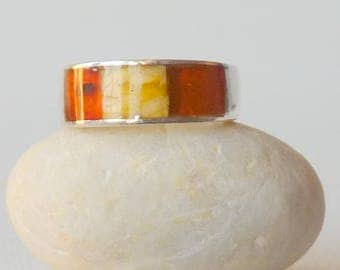 Vintage Sterling Silver Amber Ring,Yellow,Orange,Gold Baltic Amber 925 Ring, Size 6 Romantic Band Ring Size 6 Amber Retro Ring 70's Amber