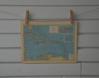 1956 Vintage West Indies Map