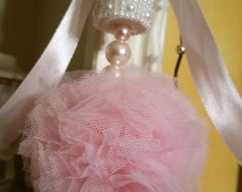 Pretty Shabby chic faded pink tulle Pompom