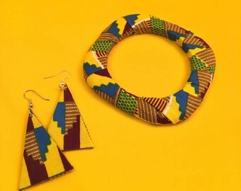 African Jewelry Set, Ethnic Jewelry Set, Unique Jewelry, African Jewelry, Sustainable Jewelry, Handmade Jewelry, African Fabric