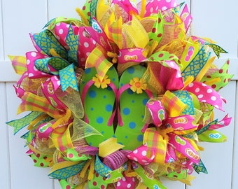 Flip Flop Wreath, Summer Wreath, Summer Deco Mesh Wreath, Flip Flops Wreath, Summer Mesh Wreath, Pink Green Yellow Mesh Wreath, Beach Wreath