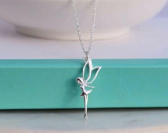 Sterling Silver Fairy necklace. Dainty Silver Fairy necklace. Minimalist Silver Fairy necklace. Simple necklace