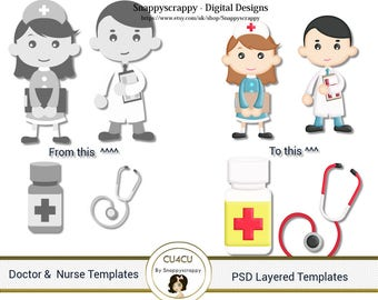 Doctor and Nurse  Photoshop Layered Templates, PSD Layered Templates