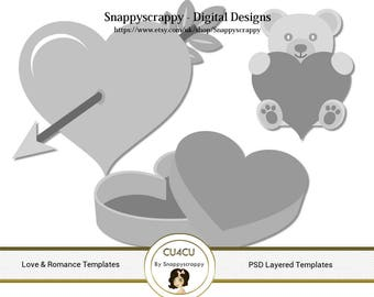 Valentines Day Photoshop Layered Templates - Love and Romance PSD Layers