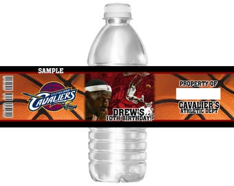 15 Waterproof Basketball Cleveland Cavalier's Birthday Party Water Bottle Labels 16.9 oz Water Mini Water Party Favors Lebron James