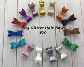 Glitter Hair Bows- 2 1/2 inch Hair Bows- Toddler Hair Bows- Sparkly Hair Bows