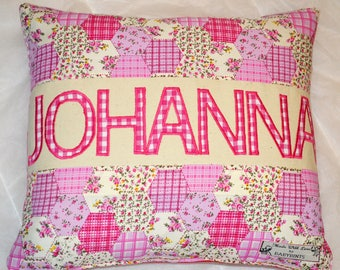 Personalised kids Cushion, Personalised Cushion for Girls, Floral Cushion, Patchwork Pillow, Gift for Girl, Baby Gift, Birthday Gift, Baby