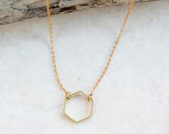 Hexagon Necklace, Honeycomb Necklace, Geometric Necklace, Dainty Necklace, Brass Necklace, everyday necklace, Boho Jewelry, Girlfriend Gift