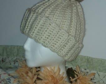 Crochet Beanie Faux Fur Pom Pom