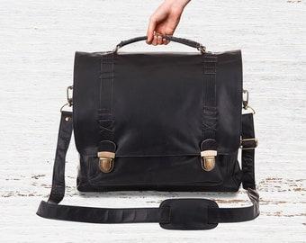 "Leather Satchel - Messenger Bag - Work Bag - 15"" Laptop Capacity in Ebony Black by MAHI Leather"