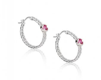 Sterling Silver Hoop Earrings with White and Red Zircon
