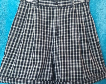 90's black and white plaid/gingham shorts