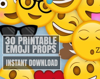 30 Emoji Printable Props, Printable emoji party prop printables, emoji style photobooth props, yellow phone pictures photo booth prop