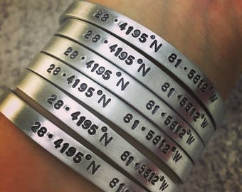Sale/ Personalized coordinate Bracelet, engraved coordinate bracelet, girlfriend, mom, sister gift, location bracelet, customized bracelet