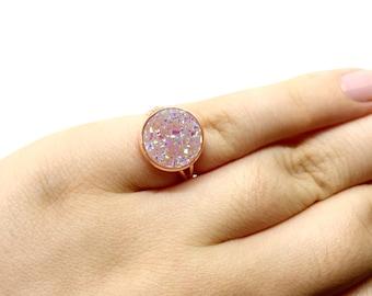 Faux druzy ring - statement ring - light pink ring