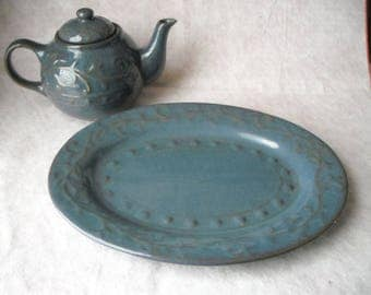 Vintage Pier One Imports Stoneware Platter and Teapot Dark Country Blue Speckled Brown Scrolls