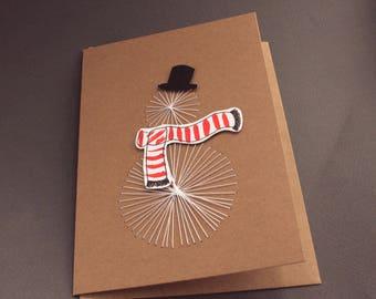 Threaded Snowman Christmas Card - Handmade, Kraft
