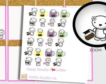 Coffee addict planner stickers Coffee planner stickers hand drawn doodle stickers