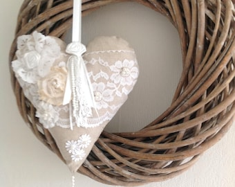 Shabby Fabric Heart Lace Heart Ornament