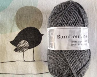 WOOL BAMBOULENE anthracite - white horse